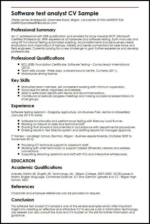 Software Tester Sample Resume. Sample Resume For Experienced