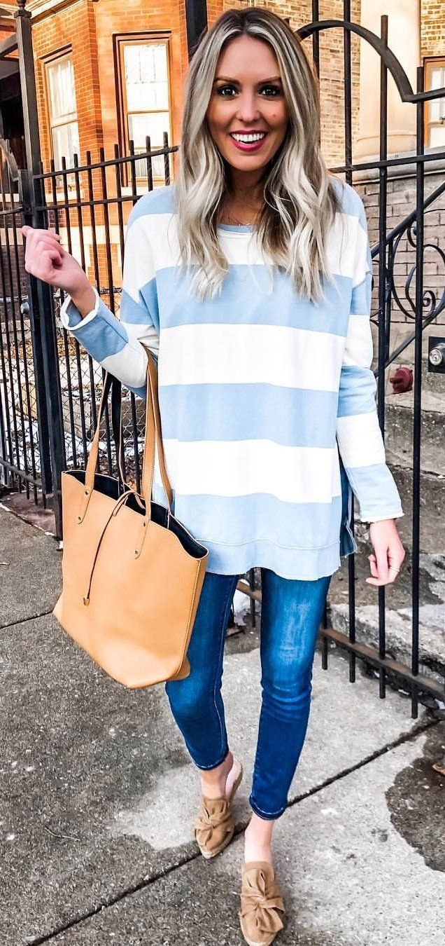 blue and white striped sweater and blue denim jeans #spring #outfits