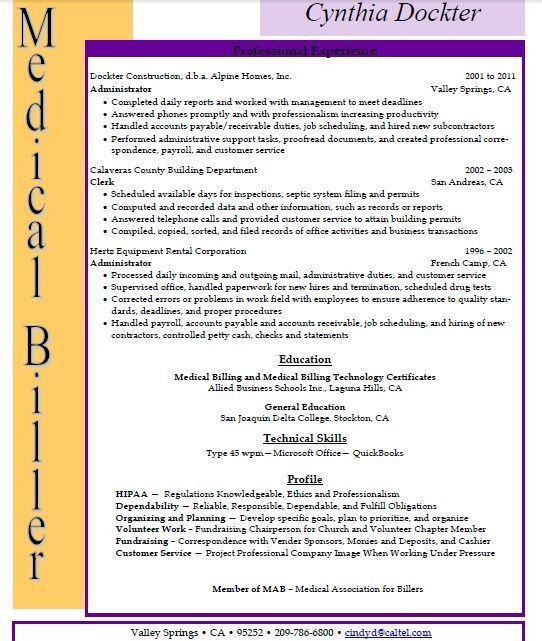 Medical Biller Resume Resume Sample Format Medical Billing And .  Medical Billing Resume Examples