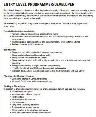 Computer Programmers Job Description Sample Computer Programmer - system programmer job description