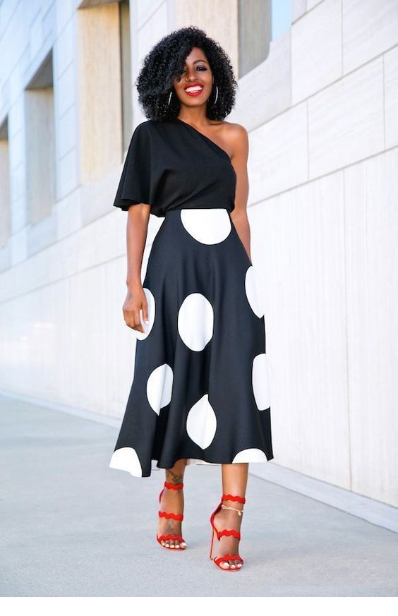 One shoulder top and long dress with big polka dots