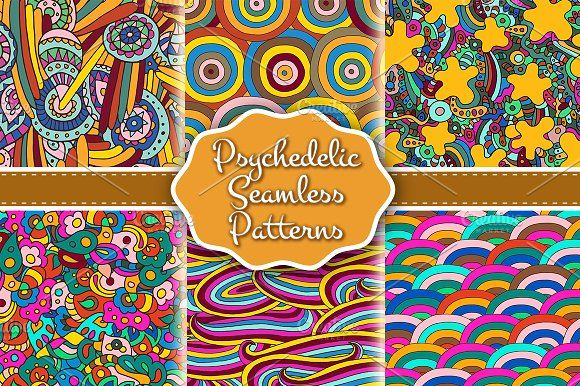 Set of psychedelic seamless patterns by Sapunkele on @creativemarket