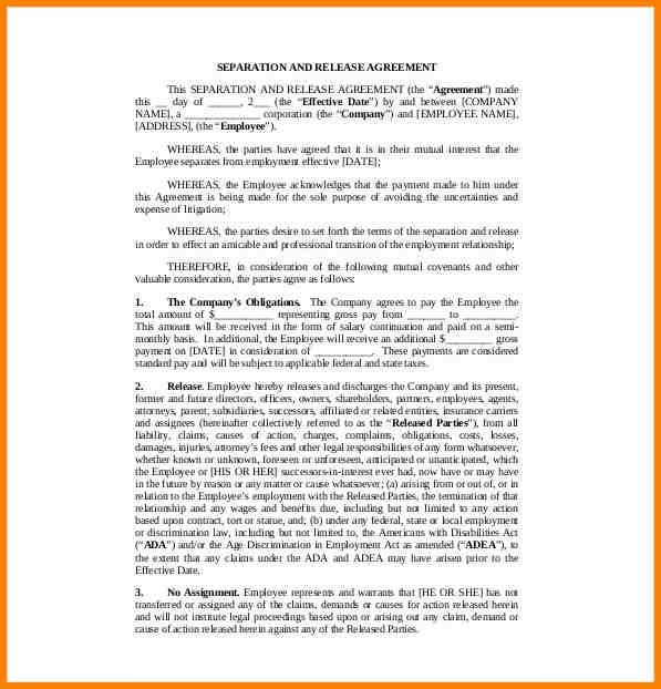 Printable sample employment contract sample form laywers - release agreement