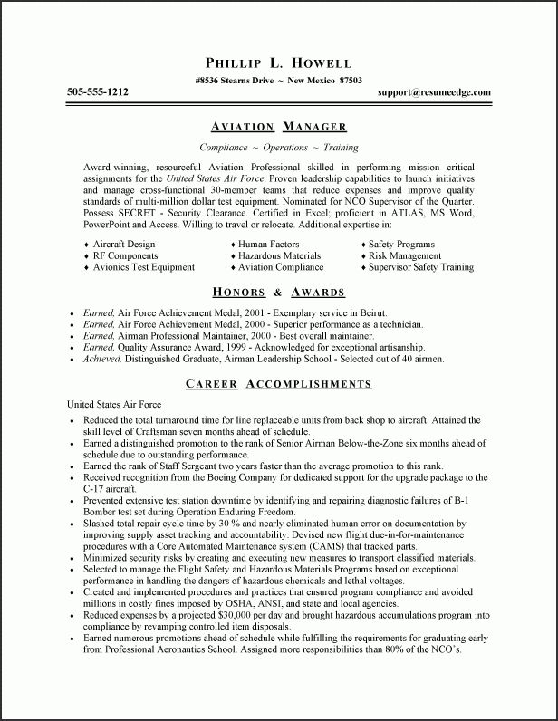 Example Of Military Resume - Examples of Resumes