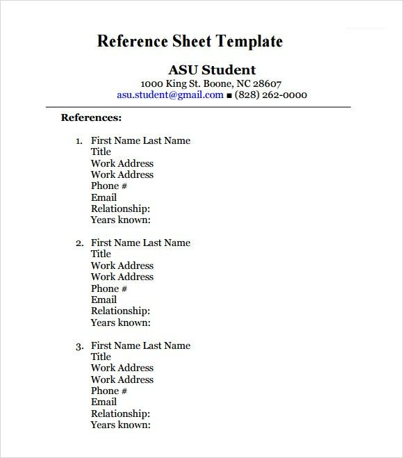 Reference Template For Resume Resume Reference Template - references template for resume
