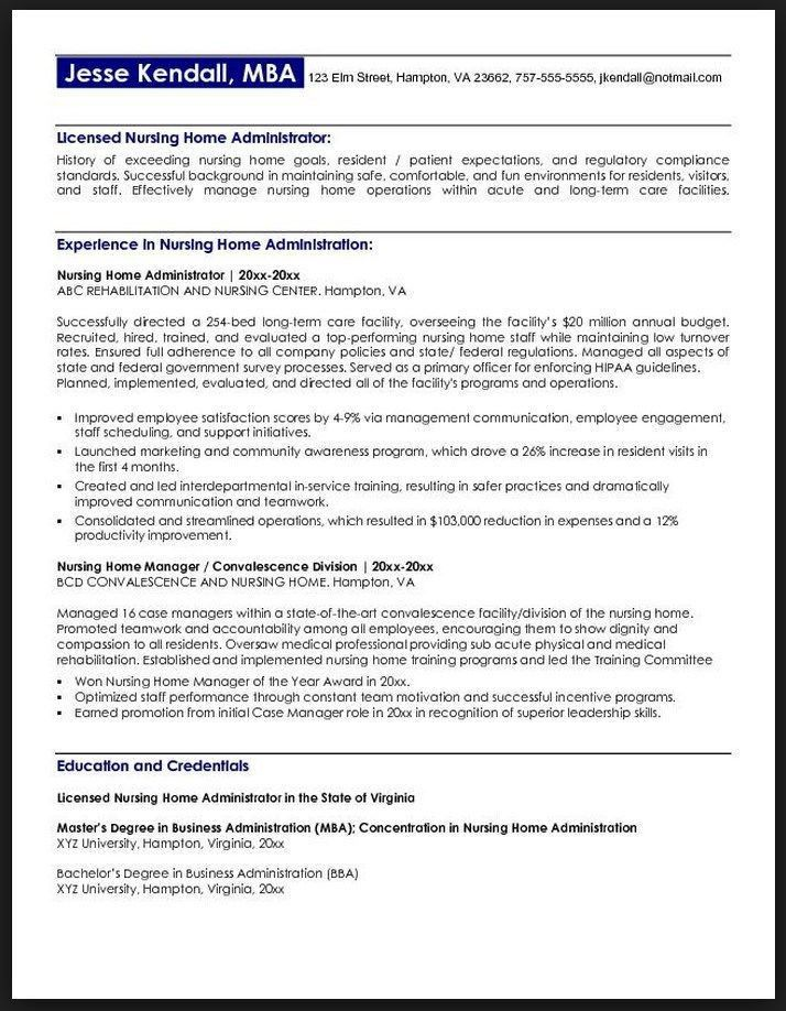 nursing home administrator resume administrative assistant resume