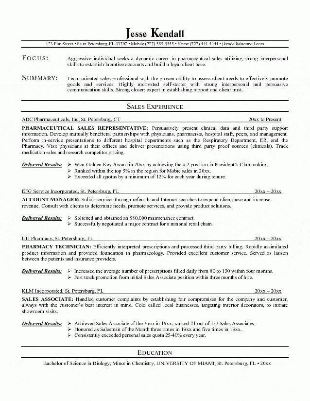 Pharmaceutical Resume Examples - Examples of Resumes