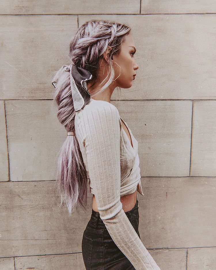 Purple fishtail hairstyle ponytail long hair hair scarf / Kirsten Zellers