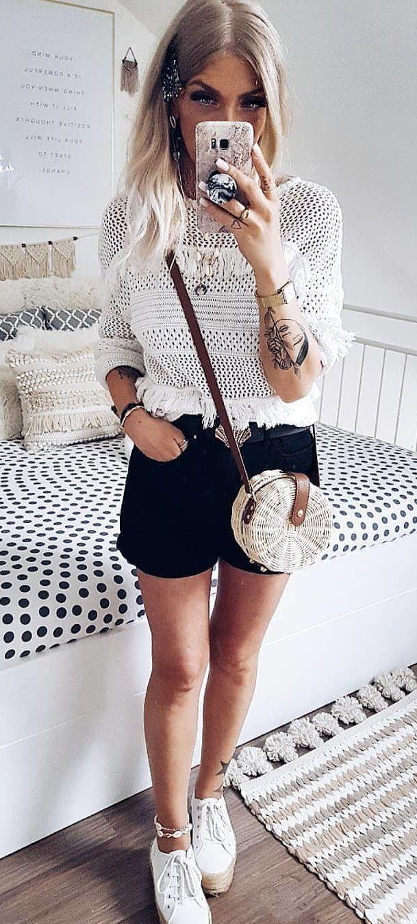 black short-shorts #summer #outfits