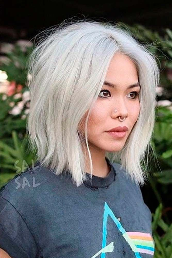 Platinum Blonde Careless Long Bob #longbobhairstyles #messyhair ★  Short hairstyles for round faces are in trend! If you have blonde hair and a round face, check out these 40 hairstyle ideas. #glaminati #lifestyle #shorthairstylesforroundfaces