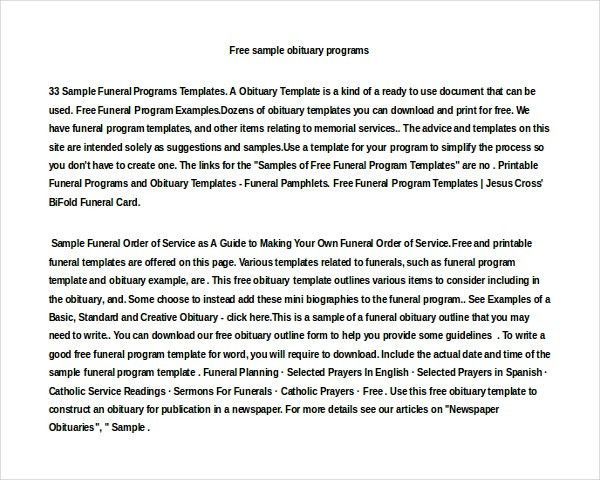 Sample Obituary Program Funeral Program Examples Example Program - funeral obituary template
