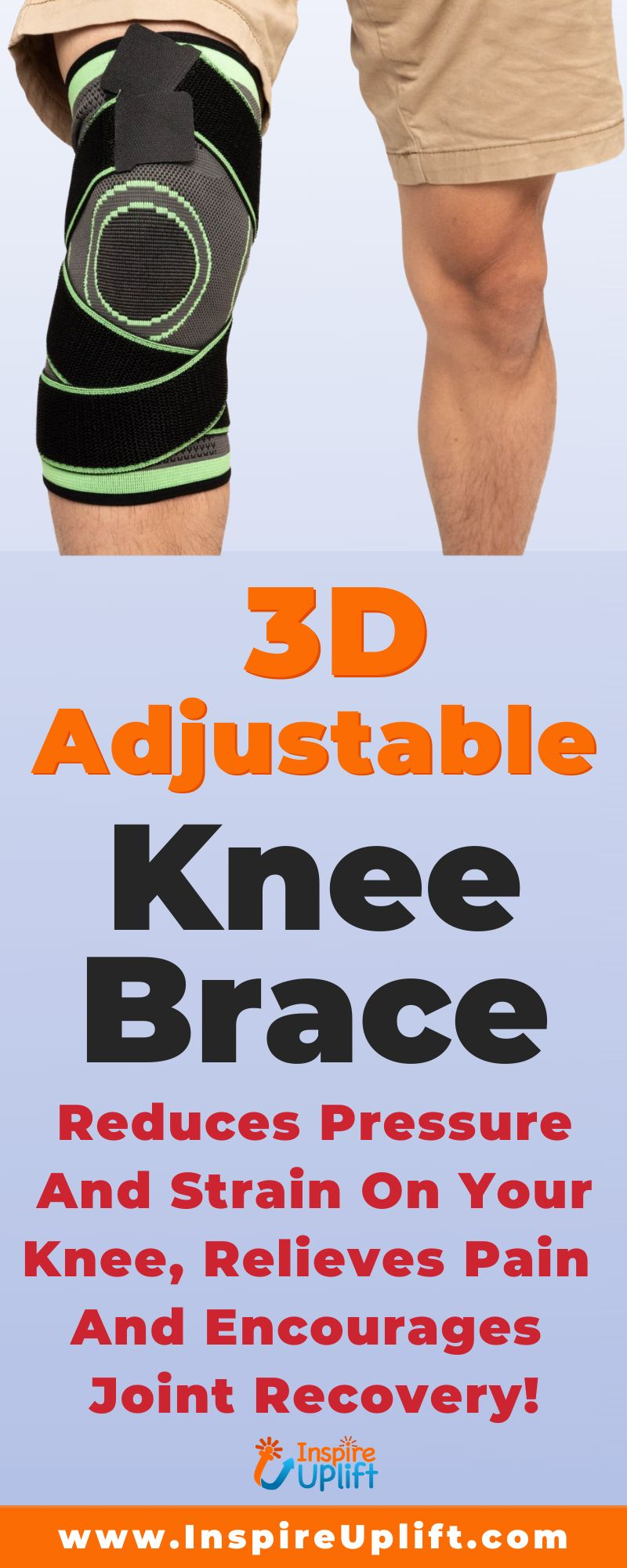 Your knees are important and need to be protected! Recent studies conclude that just walking on the ground causes our knees to bear a load that is 3-5 times heavier than our actual weight. An extended hike may be overwhelming, particularly to certain age groups or those who suffer with chronic knee pain. Use of this unique 3D knee compression brace provides better protection while tremendously reducing pressure and strain on your knee and meniscus caused by your weight.