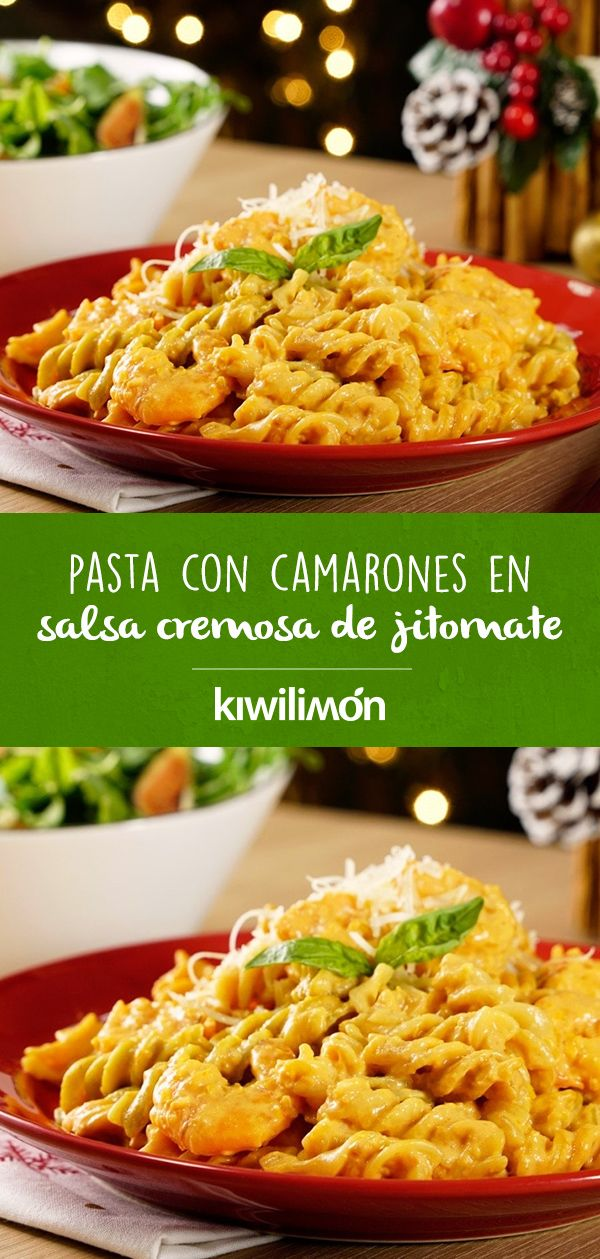 Pasta con Camarones en Salsa Cremosa de Jitomate