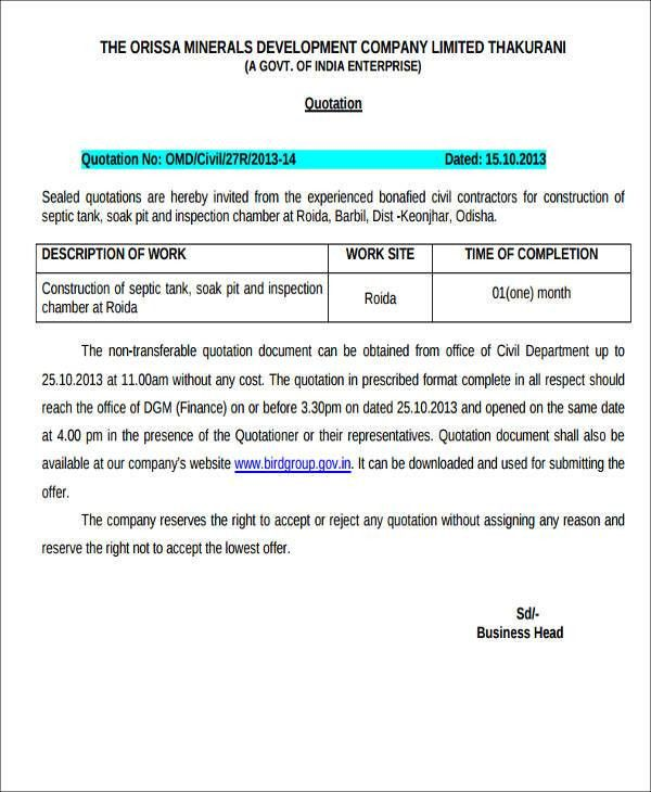 Quotation Document Sample Quotation Template 42 Documents In Pdf - quotation sample pdf