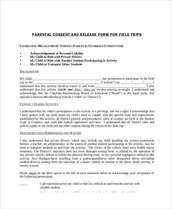 parent release form spintel - vehicle release form
