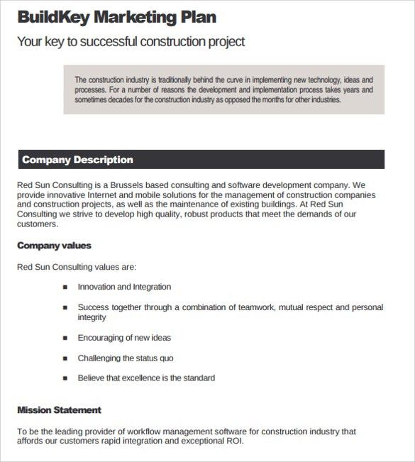 Company Description Template 9 Company Description Examples Free - construction business plan template