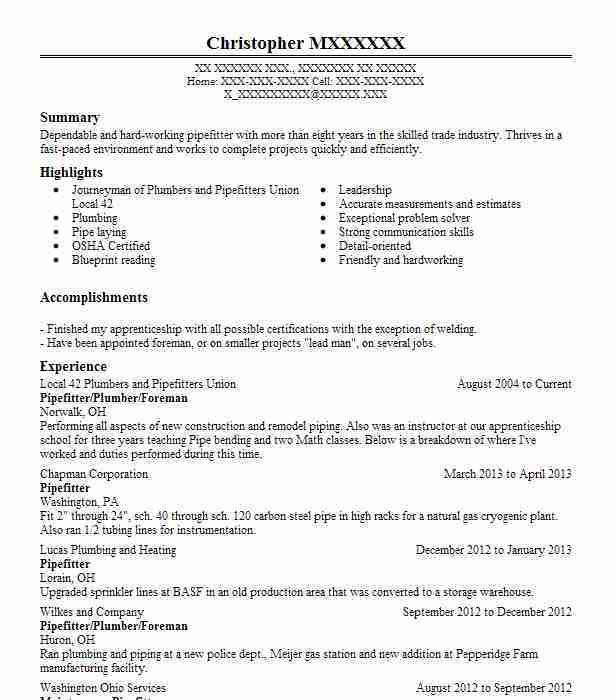 Pipefitter Resume Sample Unforgettable