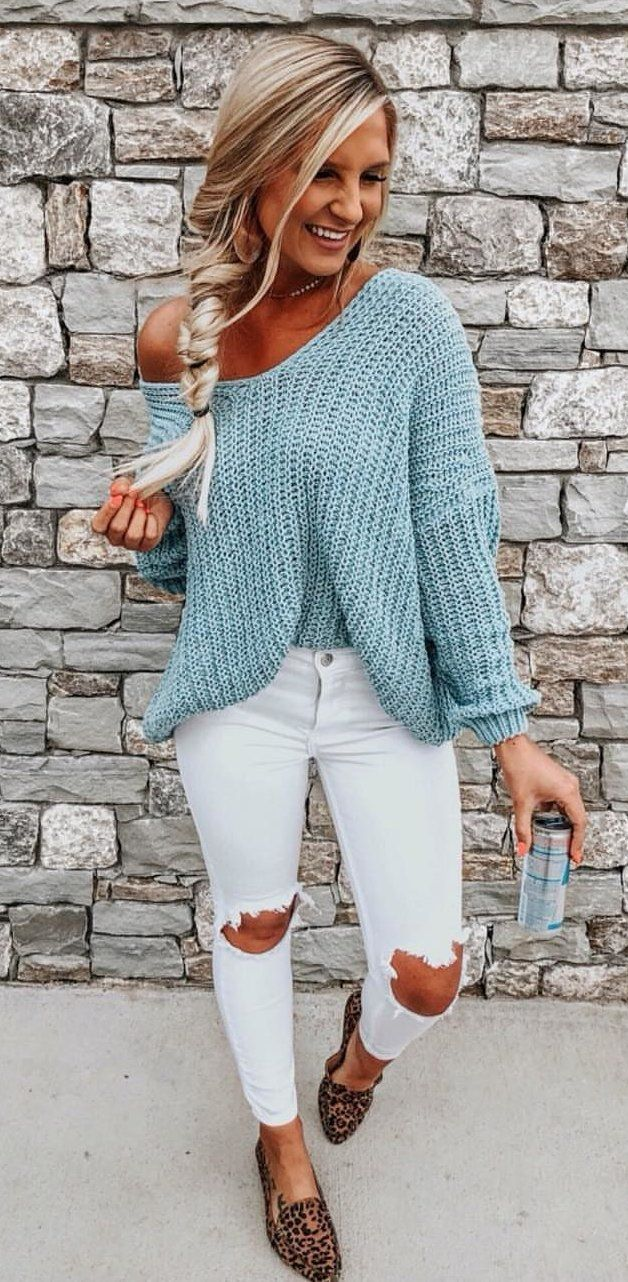 women,s blue crochet sweater #spring #outfits