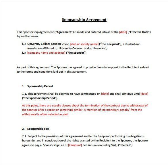 Sample Sponsorship Agreement Sponsorship Agreement Template - sponsorship contract template