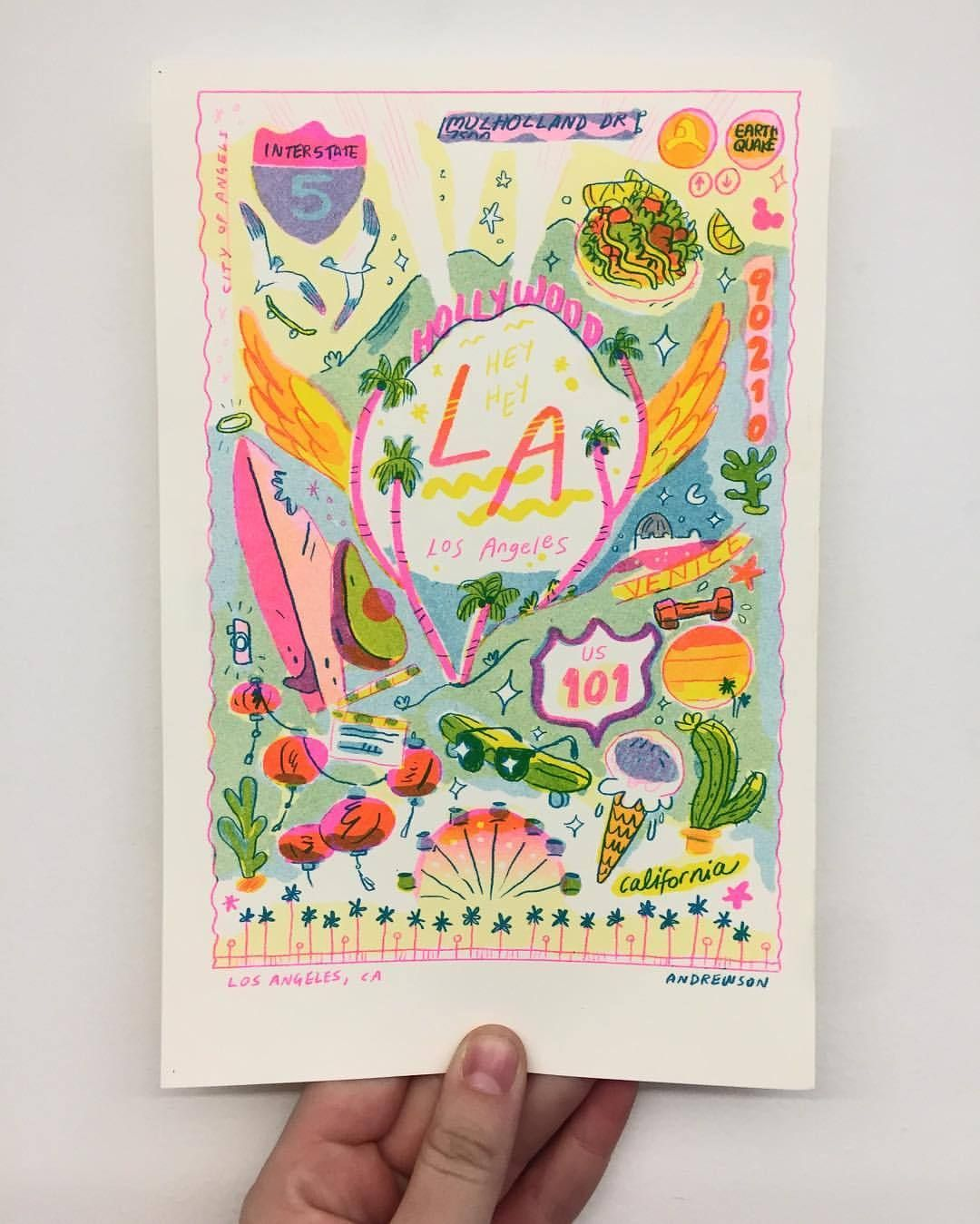 A colorful LA print for my travel series. Hope you like FLO PINNNNK HHNNGG!!!!! (at Chelsea, Manhattan)