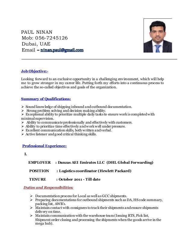 Help Desk Coordinator Resume   Sample Logistics Coordinator Resume  Clinical Research Coordinator Resume