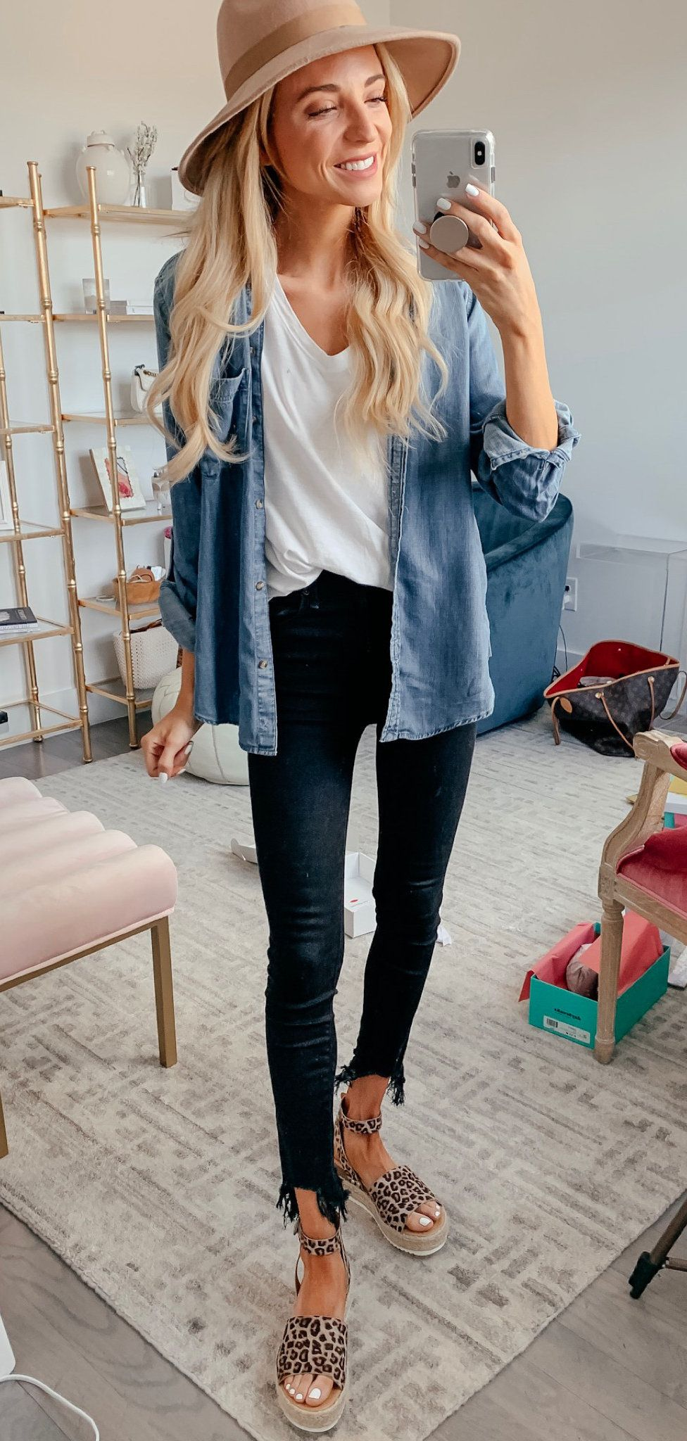 white top and blue denim jacket #spring #outfits