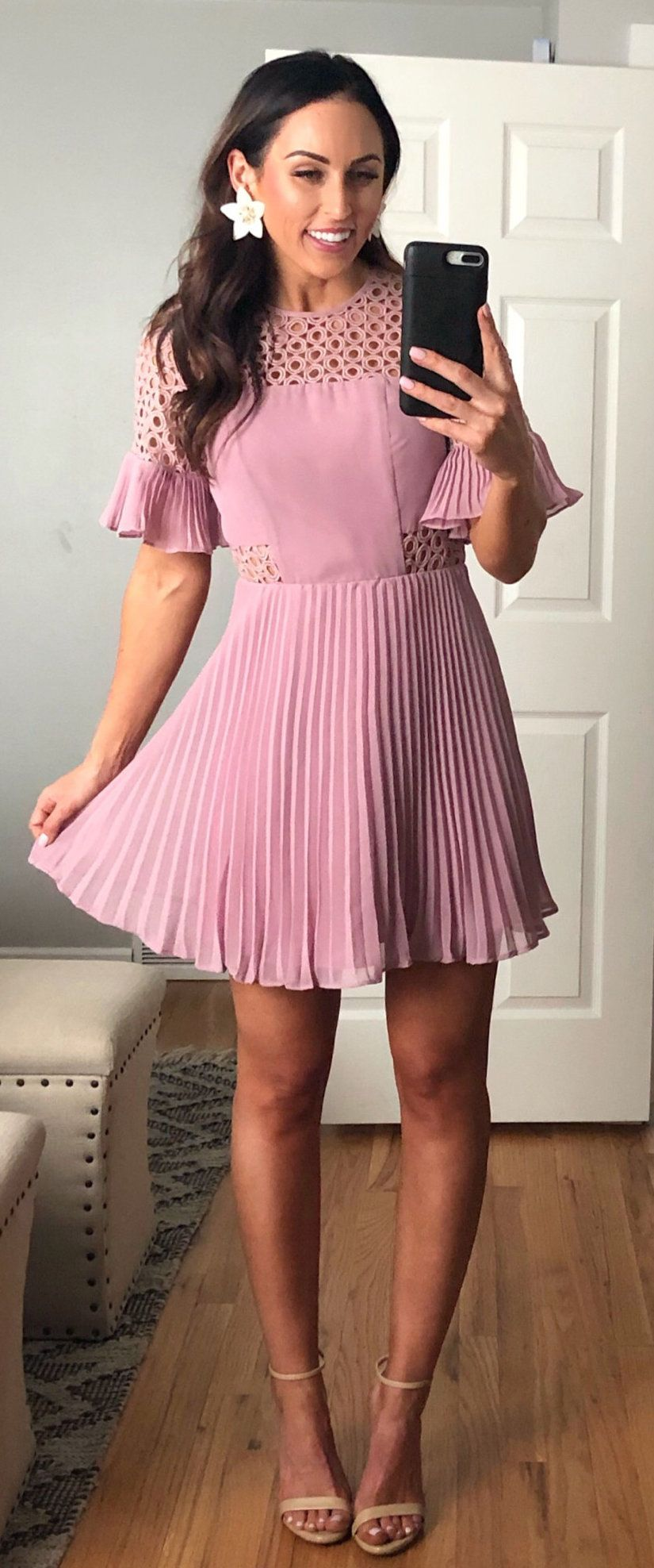 pink mesh-neckline flare-sleeved mini dress #spring #outfits