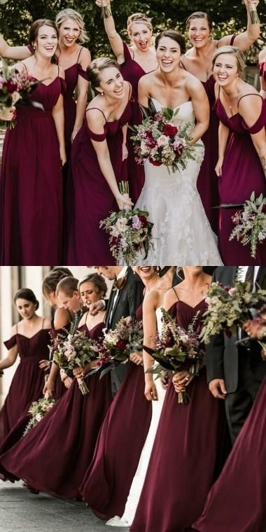 Spaghetti Straps Cheap Chiffon Off Shoulder Dark Burgundy Bridesmaid Dresses ,WG383 #darkburgundy #wedding #bridesmaid #bridesmaiddresses #chiffon #cheap
