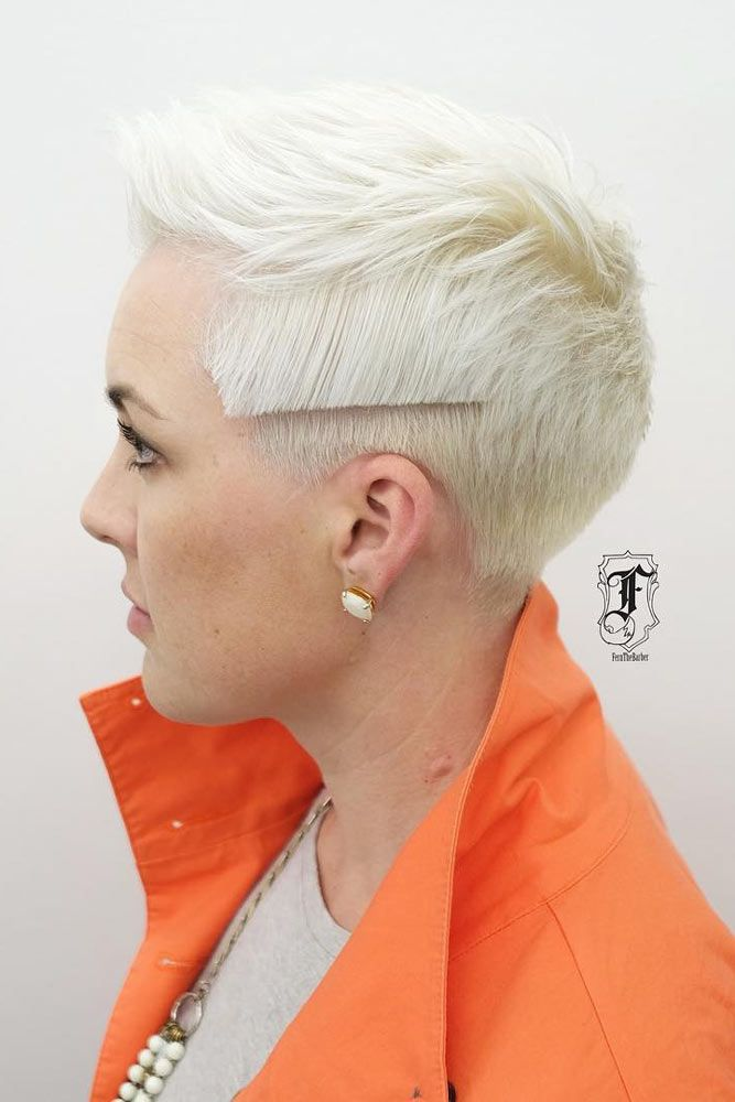 Tomboy-Inspired Undercut Hairstyle #shorthair #blondehair ★ An undercut for women is a great way to upgrade their look no matter whether they prefer long hair or short haircuts. It's extremely versatile and has a multitude of design options, from simple side cuts to hidden nape shaved hairstyles, the trendiest of which you can find here.  #glaminati #lifestyle  #undercutwomen