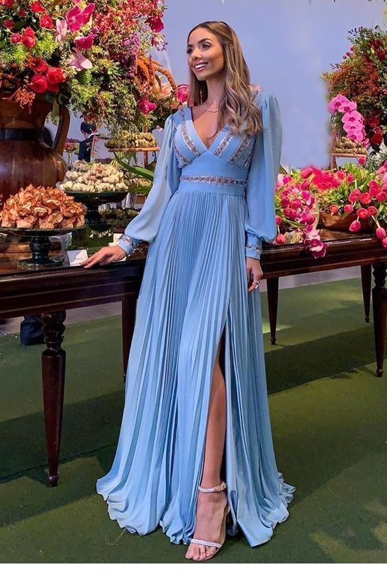Chic long sky blue dress