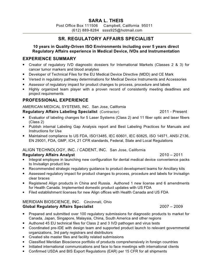 regulatory affairs resume sample resume s theis sr reg affairs student affairs resume samples - Regulatory Affairs Resume Sample