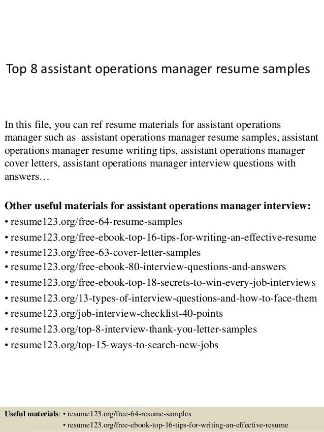assistant operation manager resume cvresumeunicloudpl - Assistant Operation Manager Resume