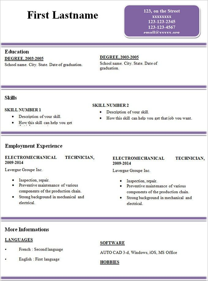 Sample Resume Simple Simple Resume Office Templates, Free Basic - resume examples for beginners