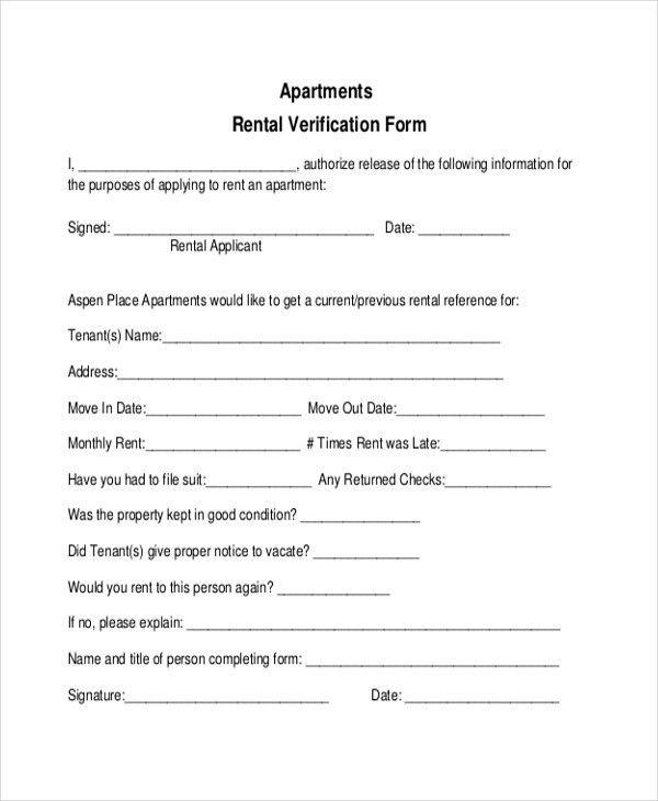 Renter Verification Form Sample Rental Verification Form 10 - rental assistance form