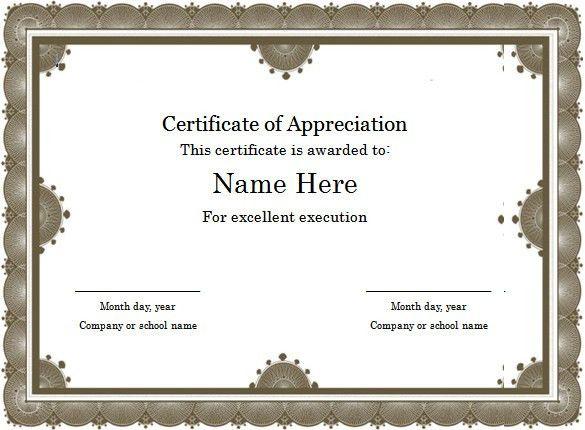 Certificates Of Achievement Templates Free Free Certificate - certificate of appreciation words