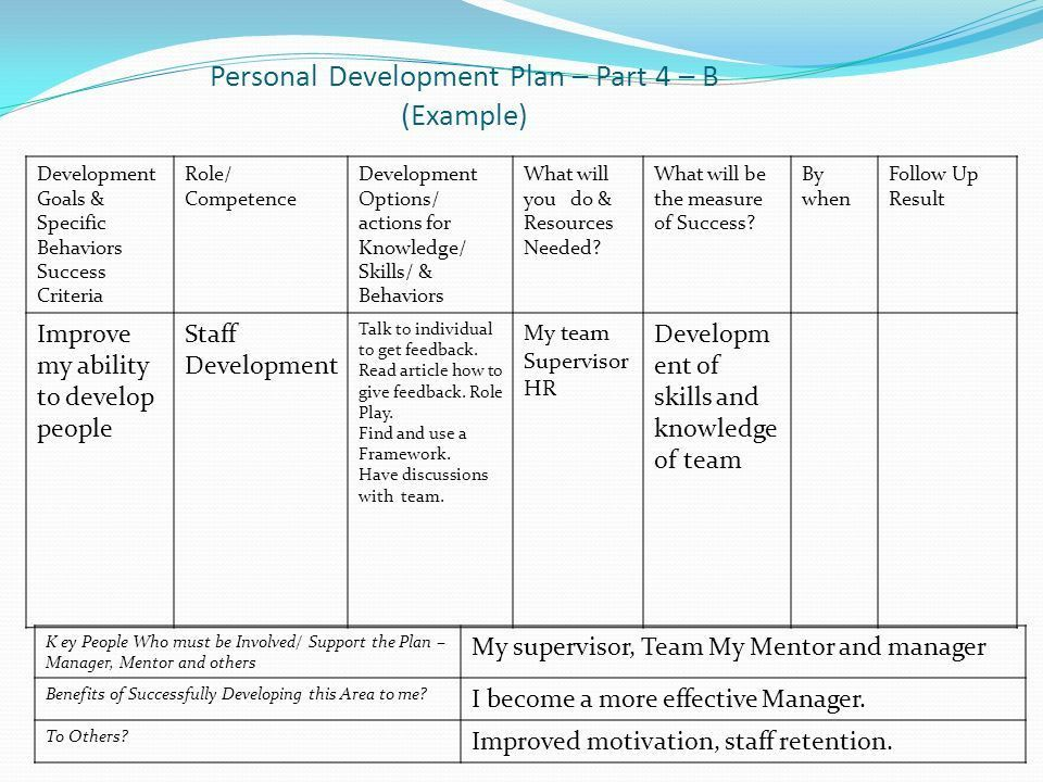 Individual Personal Development Plan Sample individual development - example of a personal development plan sample
