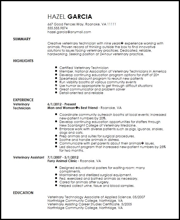 Veterinary Technician Resume Objective Download