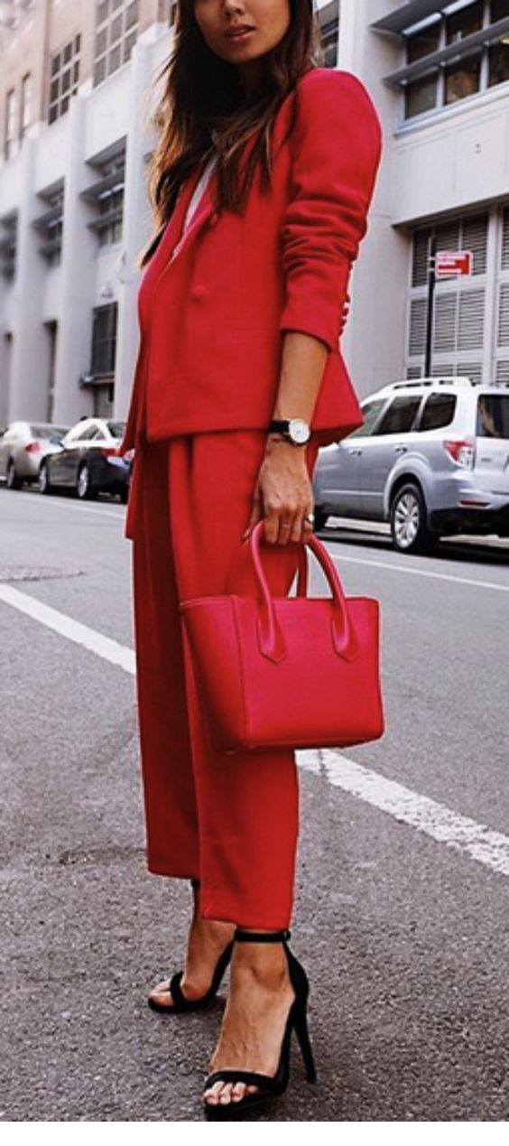 All red office look