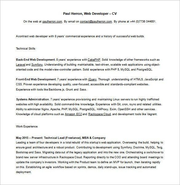 Php Web Developer Resume Web Developer Resume Template 11 Free - web developer cover letter