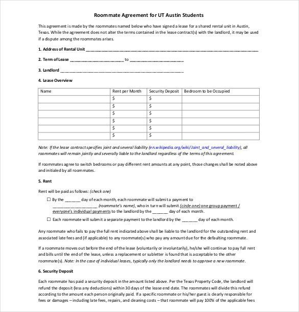 Roommate Agreement Template Roommate Contract Room Rental - lease and rental agreement difference