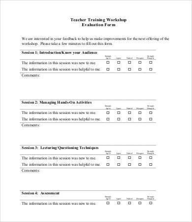Training Evaluation Feedback Form Sample Training Evaluation Form - sample workshop evaluation form example