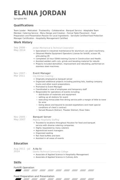 Banquet Server Resume Example - Examples of Resumes