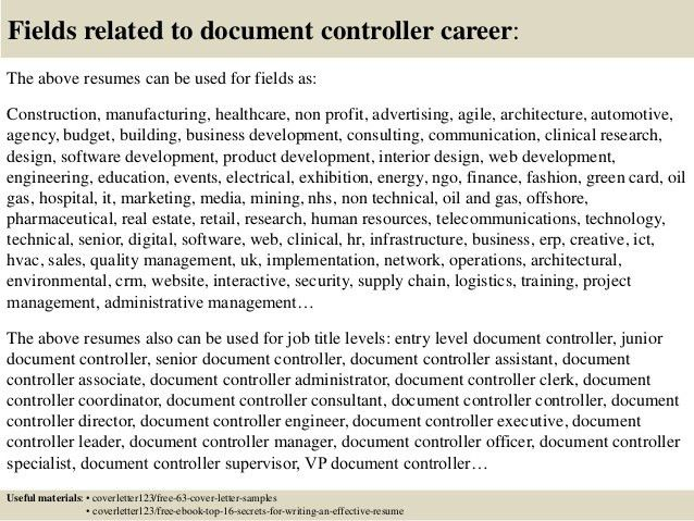 Resume Document Controller. 100 Document Control Resume Sample