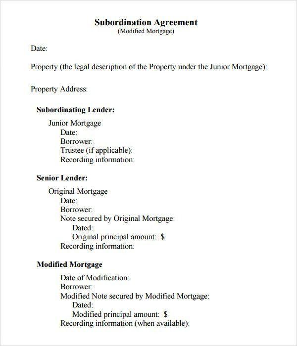 Mortgage Agreement Form 8 Subordination Agreement Form Samples - subordination agreement template