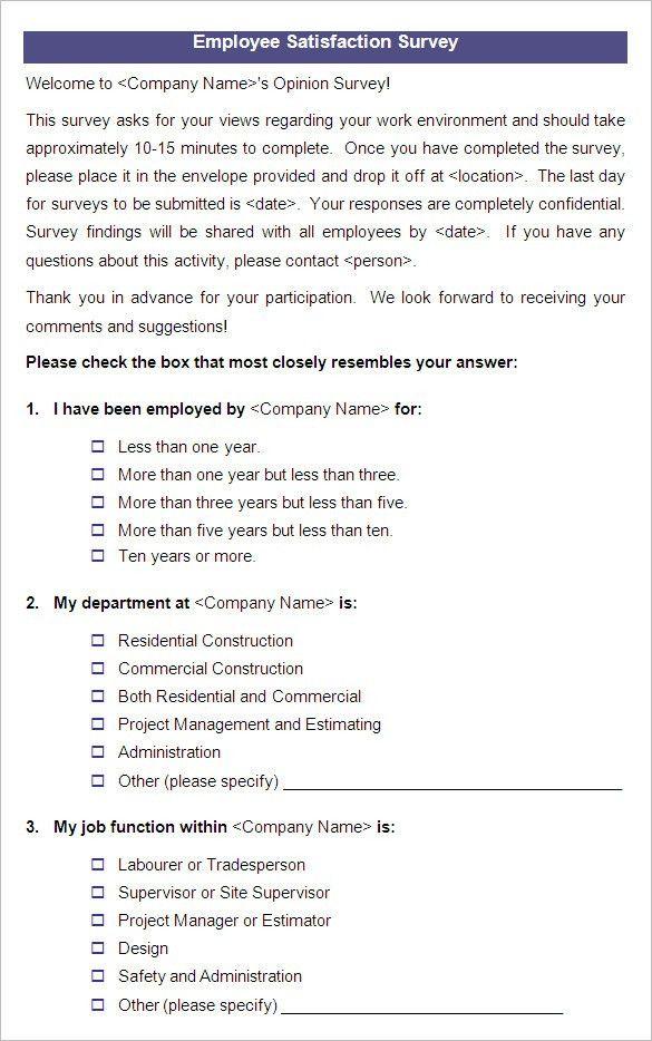Employee Morale Survey Sample Employee Satisfaction Survey - site survey template
