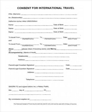 Child Travel Consent Form Sample Child Travel Consent Form 5 - travel consent form sample