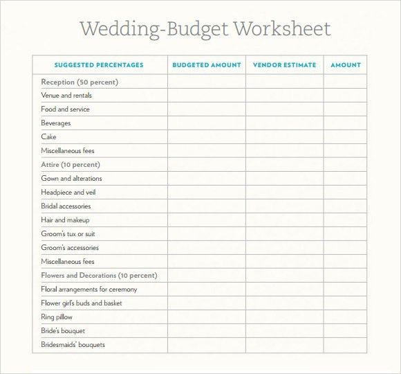 Wedding Budget Template Free Wedding Budget Worksheet Printable - sample wedding budget