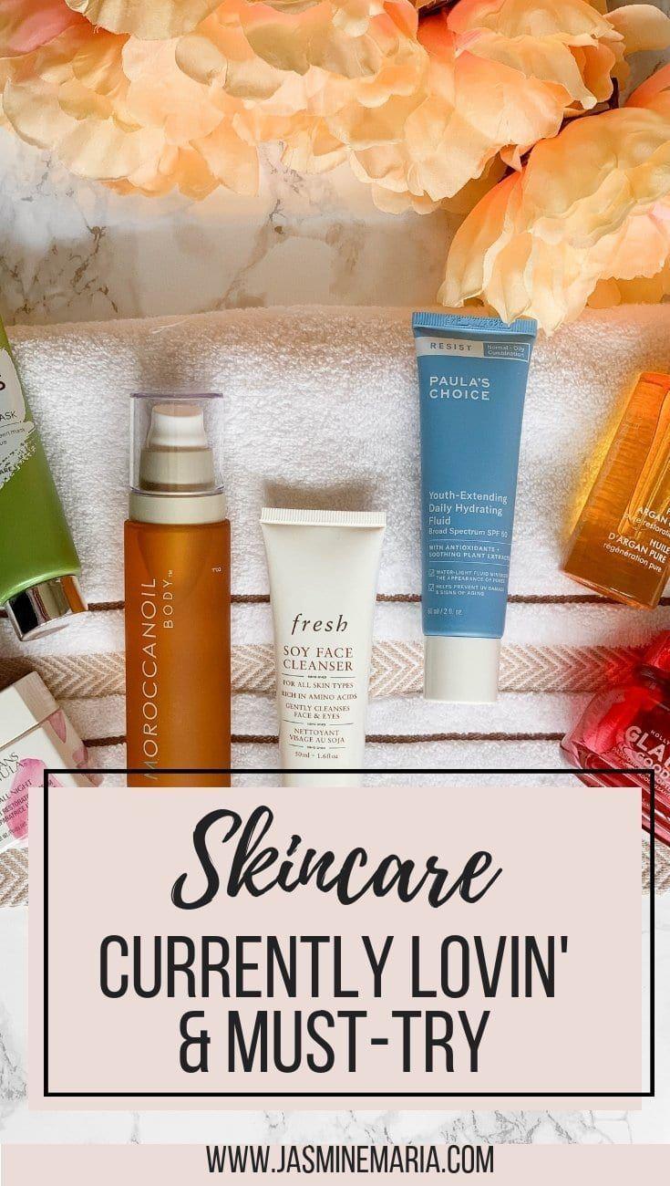 Skincare Currently Loving #skincare #skincareroutine #skincareproducts #dryskincare #dryskincareproducts #moroccanoil #glamglow #paulaschoice #elemis #freshbeauty #freshskincare