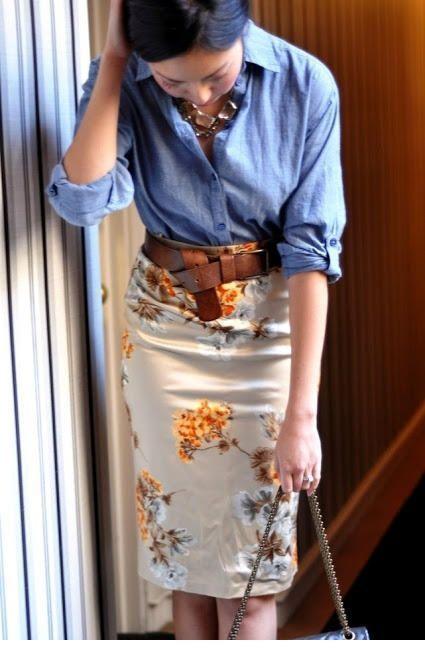 I like this combo, denim shirt and floral skirt