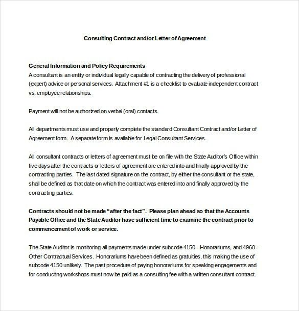 Contract Agreement Letter Letter Of Agreement 14 Download Free - payment agreement contract